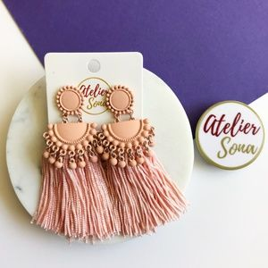 Embellished Tassel Earrings - Peach